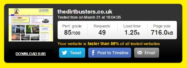 the Dirt Busters site speed