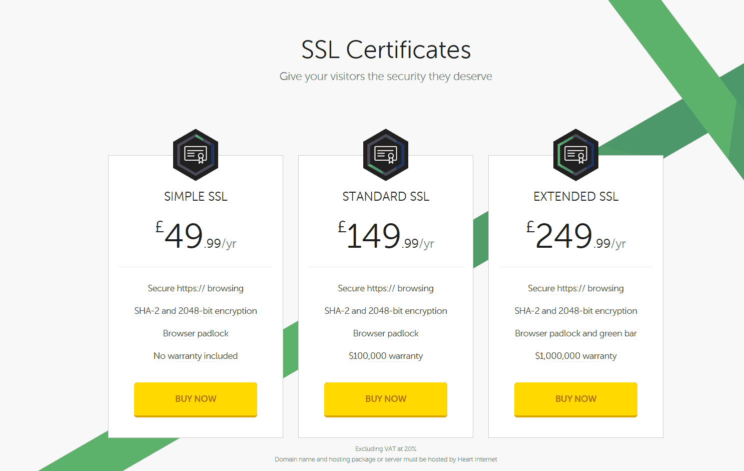 Heart Internet SSL Pricing